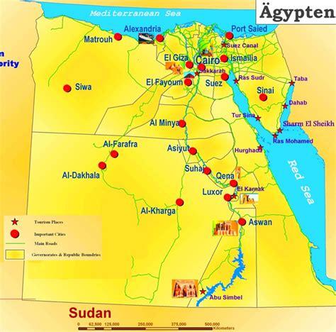 karte von aegypten mit die urlaubsorten karteplancom