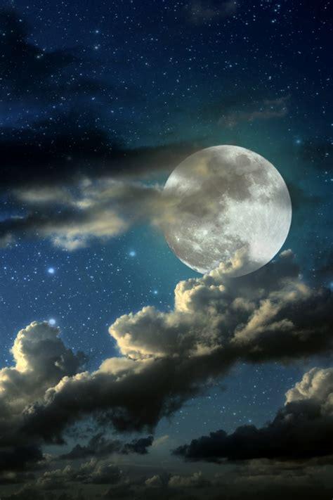wallpaper full moon stars clouds  nature