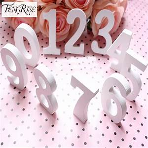 Aliexpresscom buy fengrise wooden numbers white wedding for Baby letter table for sale