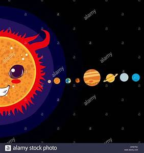 Sun cartoon with Solar system planets sorted in line Stock ...