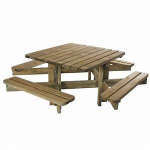 Table Bois Pique Nique : table de pique nique octave bois trait l120 x l120 cm plantes et jardins ~ Melissatoandfro.com Idées de Décoration