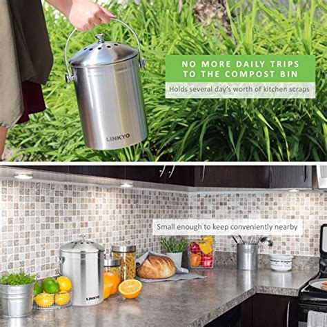 kitchen compost container indoor composter stainless steel compost bin with stainless steel handle linkyo compost bin 4 filters stainless steel kitchen