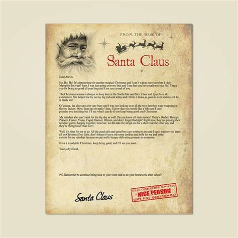 letter to child about santa written by santa letters from santa written by santa 28277