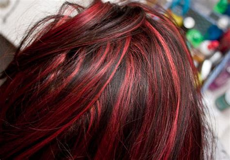 spicy black hair red highlights  ideas sophie