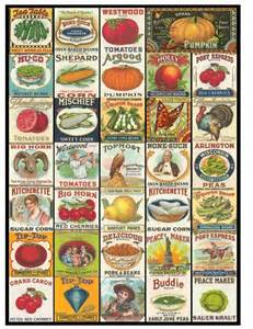 vintage seed packets eat your fruits and veggies collage sheet vintage fruit and