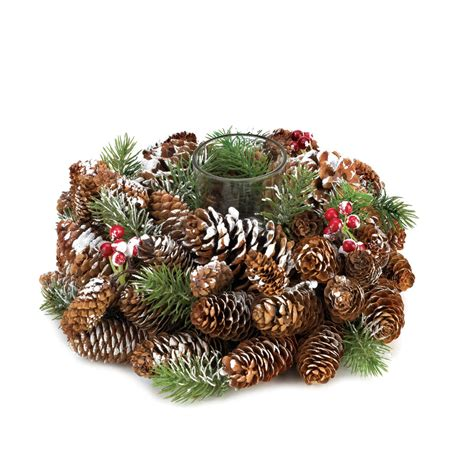 wholesale frosted pine cone wreath candleholder buy