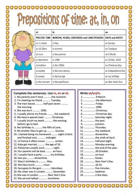 Prepositions Of Time  In, On, At Worksheet  Free Esl Printable Worksheets Made By Teachers