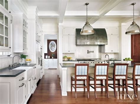 traditional white kitchen  plaid barstools luxe