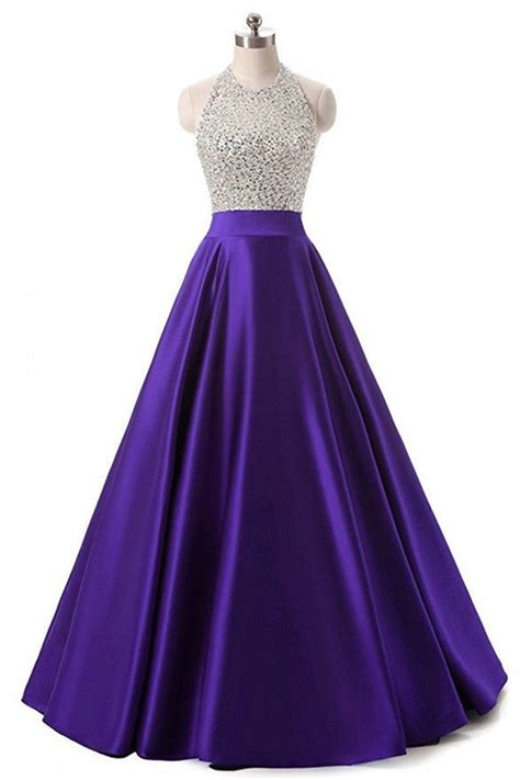 high quality purple satin beaded long prom dresses