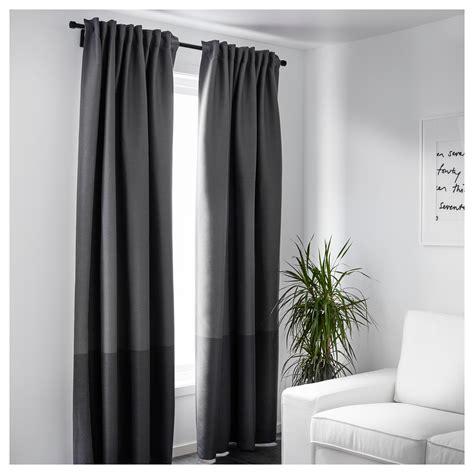Marjun Blockout Curtains, 1 Pair Grey 145 X 250 Cm Ikea