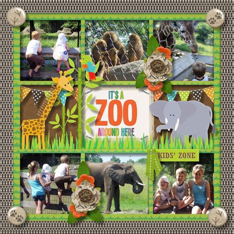 zoo scrapbook around gingerscraps layouts digital