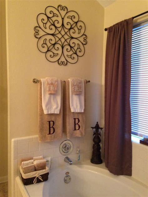 bathroom towel decorating ideas master bathroom decor my diy projects pinterest bathrooms decor towel racks and initials