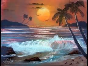 Spray-Paint Art Ocean Sunset