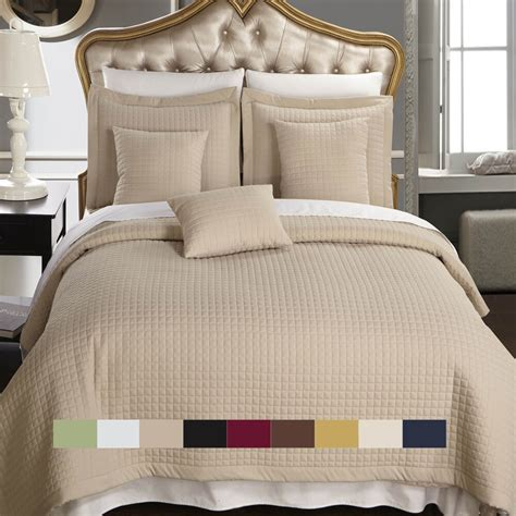 Quilted Coverlet Set by Luxury Checkered Quilted Wrinkle Free Coverlet Bedspread