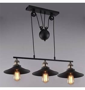 Lampe Industrielle Suspensionnoir 3 Abat Jours E27 Piattino