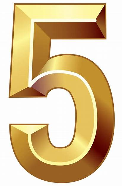 Number Numbers Five Clipart Gold Transparent Background