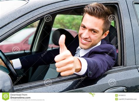 Guy Driving His Car Stock Image. Image Of Garage, Renting