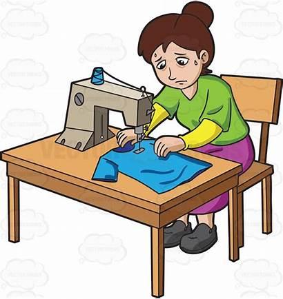 Factory Clipart Sewing Working Hard Sweatshop Shirt