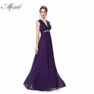 hot sale cheap v neck long purple bridesmaid dresses With purple wedding dresses for sale