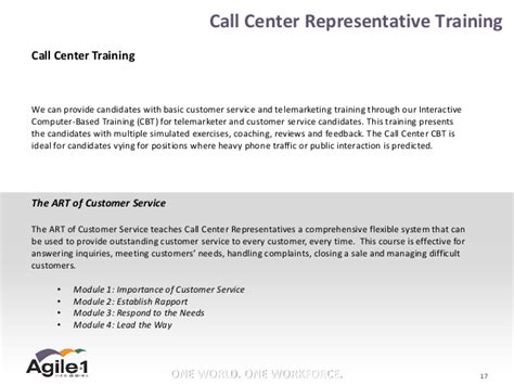 Call Center Workforce Management Resume by Agile 1 Call Center Recruitment Overview