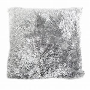 Tissu Imitation Fourrure : housse de coussin imitation fourrure gris coussin et housse de coussin eminza ~ Teatrodelosmanantiales.com Idées de Décoration
