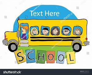 School Bus Illustration With Kids Hand-Draw Vector ...
