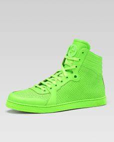 Gucci Coda Neon Leather High Top Sneaker Green