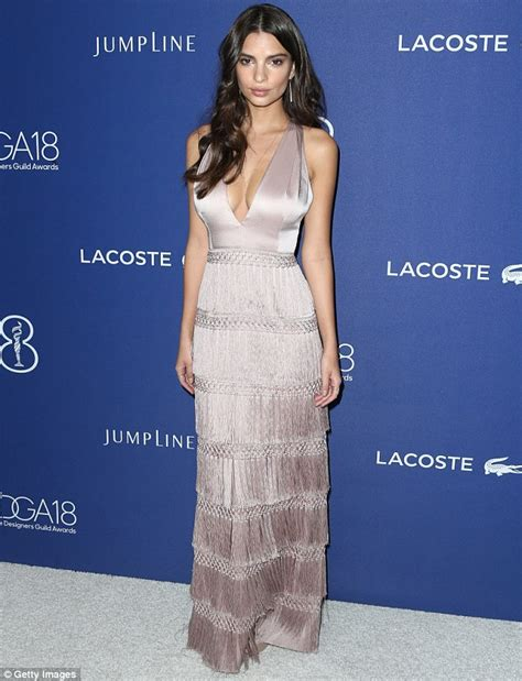 Emily Ratajkowski wows in low-cut taupe gown at Costume ...
