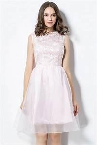 Robe Rose Pale Demoiselle D Honneur : robe rose p le haut en dentelle jupe vas e encolure bateau ~ Preciouscoupons.com Idées de Décoration