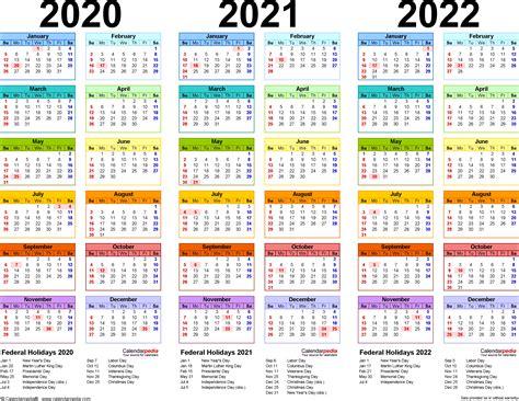 calendar year printable word
