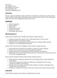 resume for supervisor in restaurant professional bar supervisor templates to showcase your talent myperfectresume