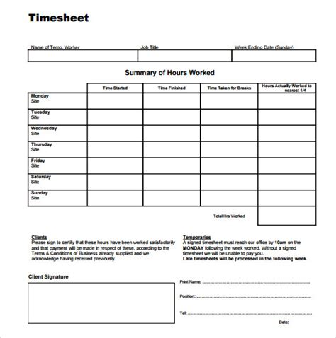 time sheet template 9 free sle exles format