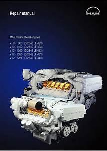 Man Marine Diesel Engine V12 1360  D 2842 Le 423  Service