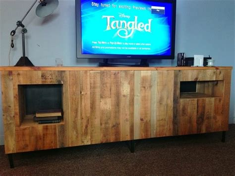 recycled pallet tv stand plans pallet wood projects