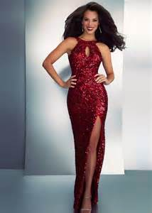 Red Sequin Halter Prom Dress