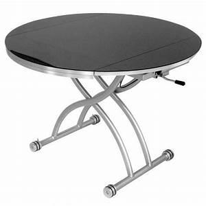 Table Basse Noire Ronde : table basse ronde relevable extensible noir rondo achat vente table basse table basse ronde ~ Teatrodelosmanantiales.com Idées de Décoration