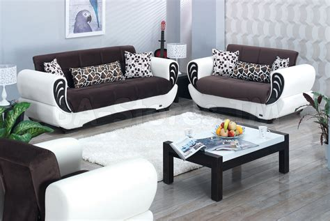 san francisco 2 pc two toned brown and white sofa set
