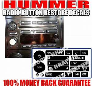 Hummer Radio Stereo Worn Peeling Button Decals Stickers