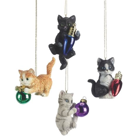 kitten cats playing christmas ornament set of 4