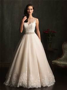 ball gown sheer illusion neckline champagne lace tulle With sheer neckline wedding dress