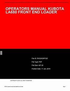 Operators Manual Kubota La680 Front End Loader