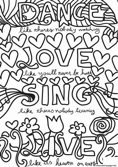 Coloring Dance Pages Sing Quotes Quote Printable