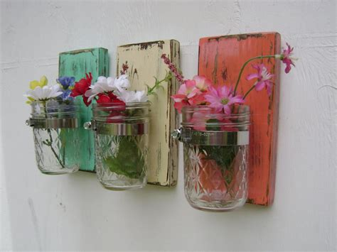 Wall Sconce Shabby Chic Rustic Wooden Vases Mason Jar Wood