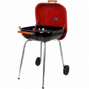 Meco Charcoal BBQ Grill With Wheels - Red - 4100 : BBQ Guys