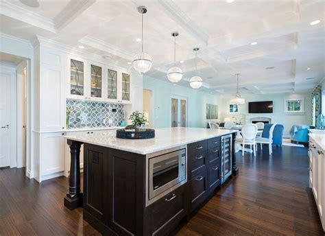 White Kitchen with Blue Gray Backsplash Tile   Home Bunch