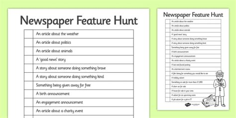 newspaper feature hunt checklist teacher
