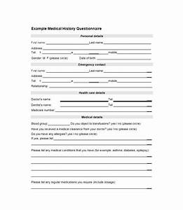 59 health history questionnaire templates family medical With health questionnaire form template