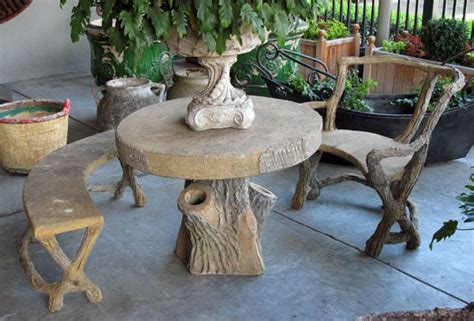 piece french faux bois concrete garden set