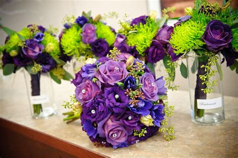 Lime Green And Purple Wedding Flower Bouquet, Bridal