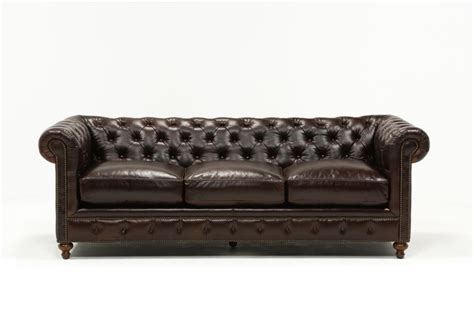 Mansfield 96 Inch Cocoa Leather Sofa Living Spaces